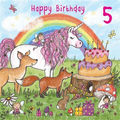 Age 5 Girls Birthday Card With Unicorn