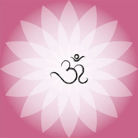 lotus flower symbol om symbol on pink lotus flower vector free