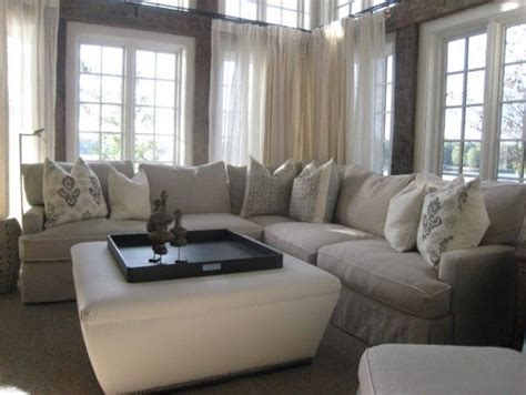 family sectional sofa eye catching white ottoman on center with tray as coffee