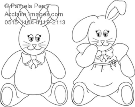stuffed bunny coloring page clip art image of a boy and girl stuffed bunnies easter