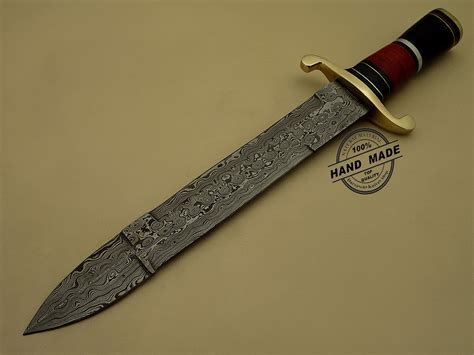 Handmade Bowie Knife - damascus bowie knife custom handmade damascus steel