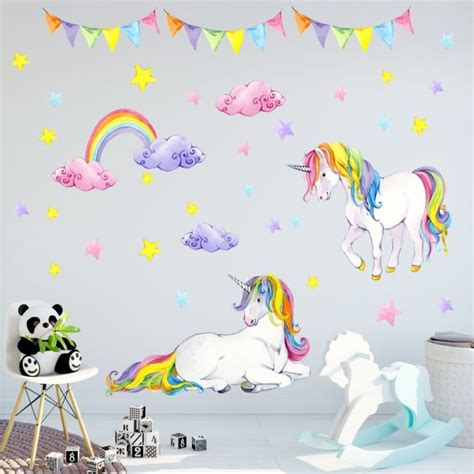bild kinderzimmer regenbogen 072 wandtattoo einhorn bunt regenbogen kinderzimmer