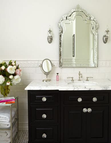 decorative mirrors for bathroom vanity black vanity with white marble countertop traditional