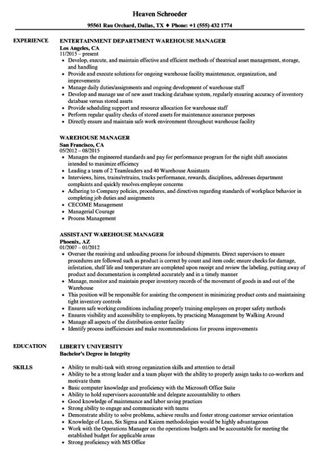 Warehouse Operations Manager Sle Resume by Warehouse Manager Resume Sles Velvet