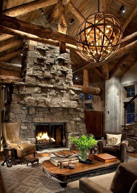 rustic fireplace impressive rustic cabin and cottage interior designs