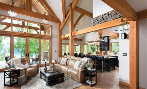 Family Room And Living Room - timber frame great room photos by riverbend