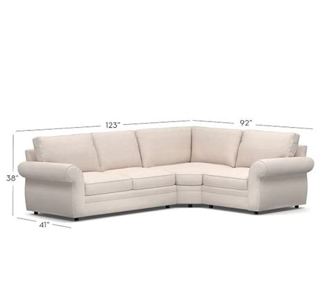 sectional with wedge pearce upholstered 3 piece sectional with wedge pottery barn