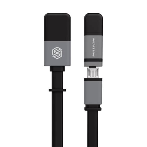 Nillkin Plus Cable 2 In 1 Charging Cable Lightning Micro Usb Graybl nillkin plus ii cable 2 in 1 charging cable lightning