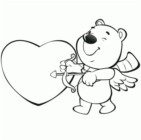 valentine cartoon coloring pages cartoon coloring pages bear the angel valentines day coloring pages valentines