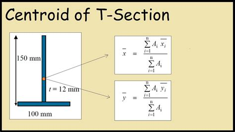t section moment of inertia centroid of t section inverted youtube