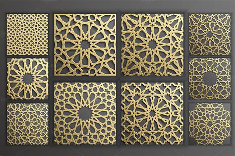 gold islamic seamless pattern set   behance