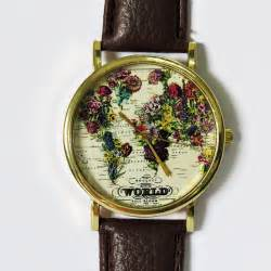 Watch With World Map by The World In Full Bloom Map Floral Watch Vintage Style
