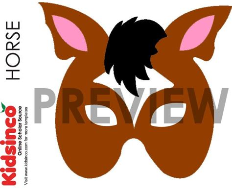 printable animal eye mask template horse mask template horse pattern halloween costumes
