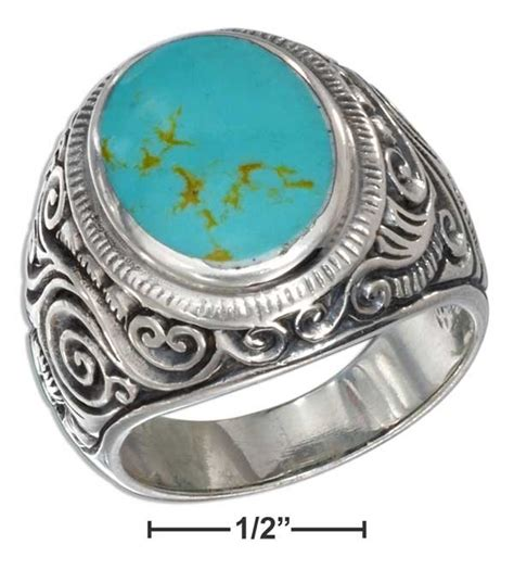 sterling silver mens turquoise ring size 10