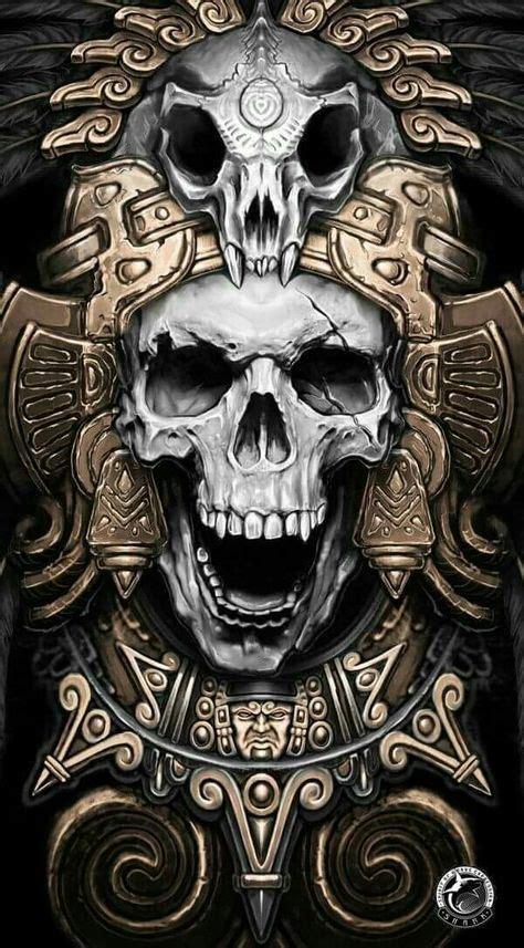 skull in headdress priest aztec on shoulder mayan skull warrior перекрытие браслет