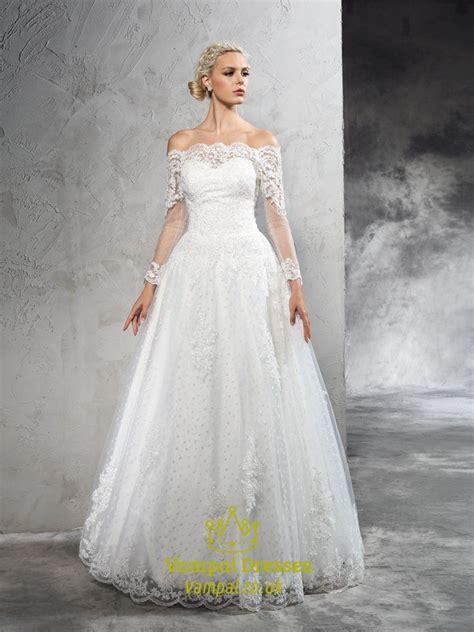 Sle Wedding Dresses Uk by Shoulder A Line Floor Length Lace Wedding Dress With