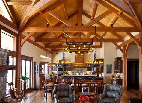 Hill Country Dining Room | hill country home timber kingpost traditional dining