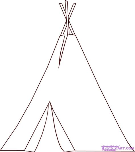 Step 4 How To Draw A Teepee Teepee Coloring Pages