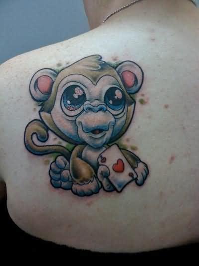 tattoos of cartoon monkeys monkey cartoon tattoo on back