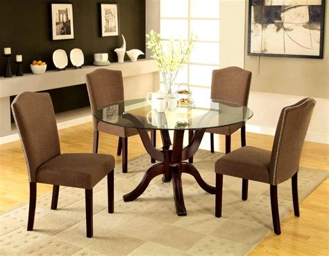 round glass dining room table sets cool dining room with brown fabric table chairs and glass
