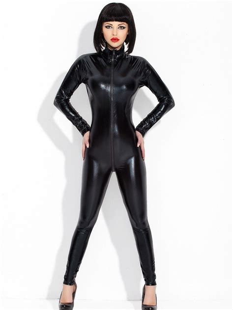 Cat Time Black Leather wetlook black sleeve overall catsuit bodysuit