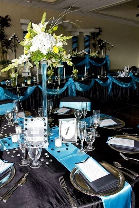 turquoise runner black table cloth silver chargers