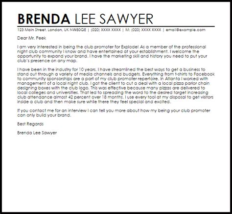 club promoter cover letter sample livecareer