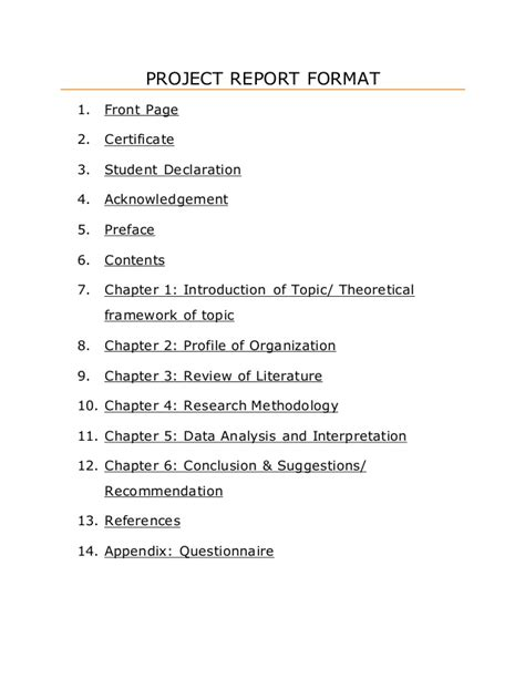assignment report format sle project report format