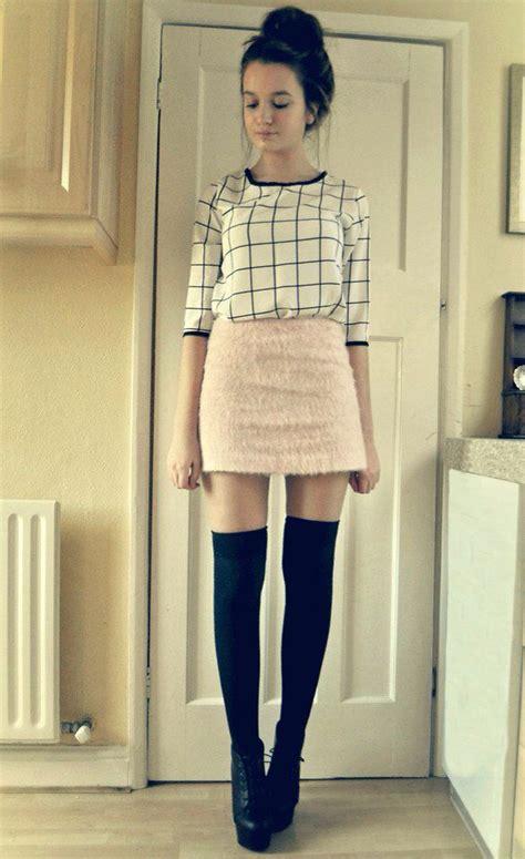 skirt thigh highs wedges threads