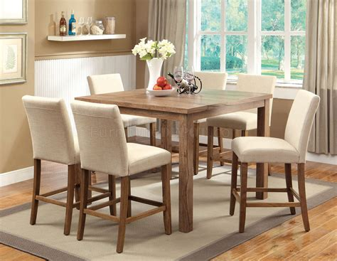 Rustic Counter Height Dining Table Sets Cm3555t 48 Sorrel Ii Counter Height Dining 7pc Set In Rustic Oak