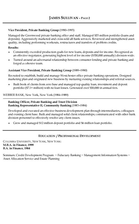 Resume Format Of Banking Sector Banking Resume Exle