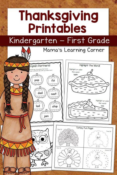 thanksgiving worksheet packet for kindergarten and first