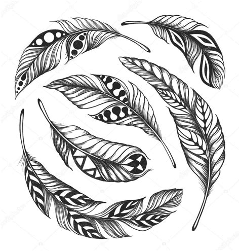 black on white feather shaman circle ornament stock