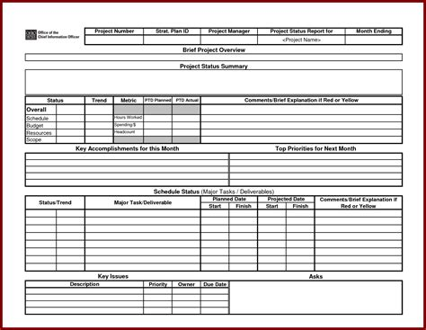 status report template excel project status report