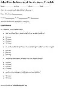 needs assessment survey template questionnaire template for school needs assessment