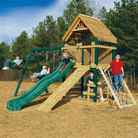 tree house swing sets gorilla playsets tiki treehouse beachcomber wood swing set