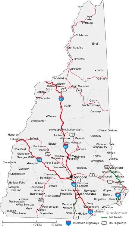 map of southern nh map of new hshire cities new hshire road map