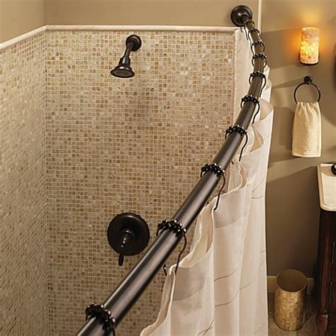 moen double shower curtain rod moen 174 adjustable curved old world bronze shower rod bed