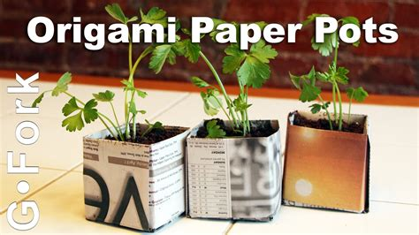 How To Make Paper Pots - origami paper seed starting pots gardenfork