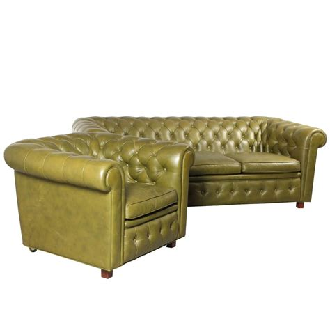 Leather Chesterfield Style Sofa And Armchair By Arne Chesterfield Style Sofas