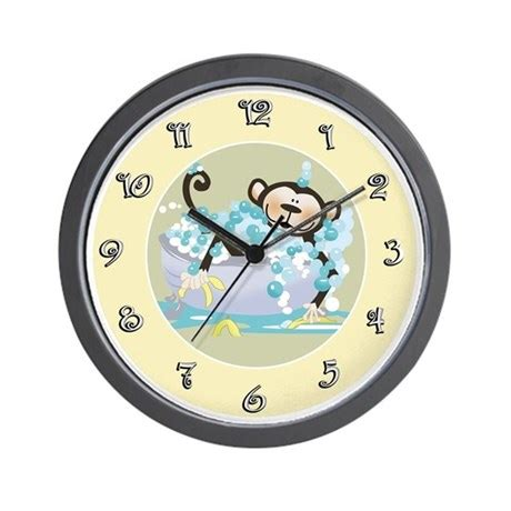 clock for bathroom brown monkey in tub kids bathroom wall clock by artbyjessie