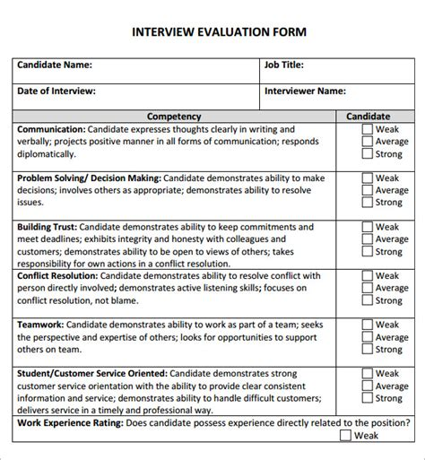 6 Sle Free Interview Evaluation Templates To Download Sle Templates Candidate Questionnaire Template