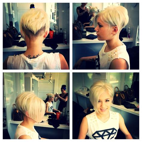 long hair at the front shaved at the back icey blonde with shaved sides down to mohawk not sure