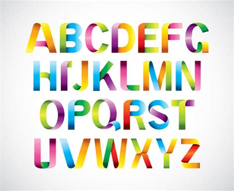 vectorial design font colored ribbon alphabet vector vector font free download