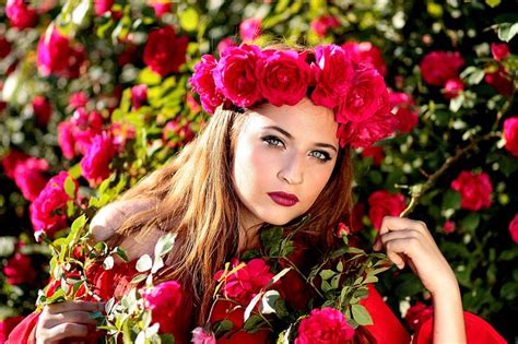 flowers wreath floral free image on pixabay free photo girl roses red wreath flowers free image