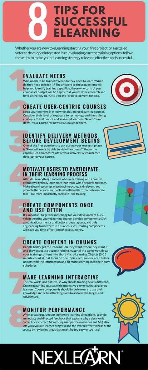 8 Tips On How To 8 Tips For Successful Elearning Infographic E Learning