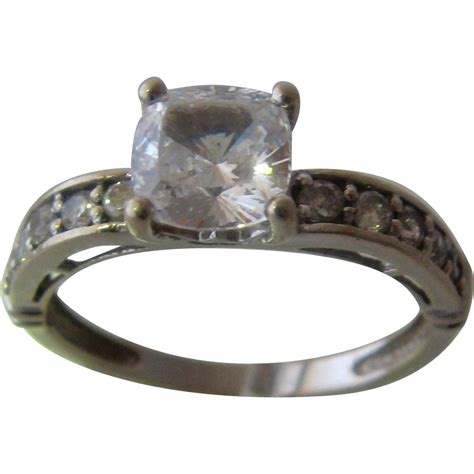 14k white gold cubic zirconia ring size 9 from