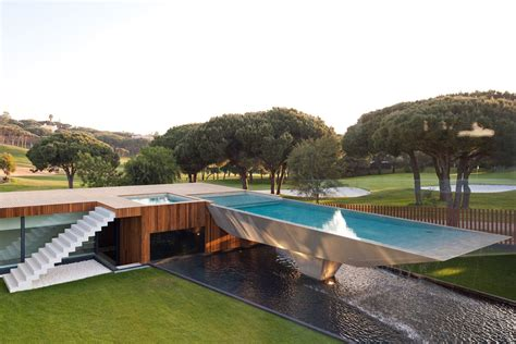 modern house with pool modern home with a unique suspended pool in portugal
