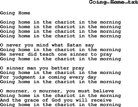 negro spiritual song lyrics for going home