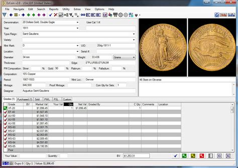 Coin Inventory Software Ezcoin Usa 2017 With Values Images Great Reports Ebay Collection Database Template